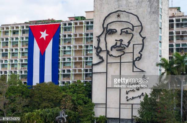 Iron outline of Che Guevera face on a the MININT white building which is the headquarter of the organization