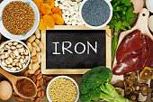 Collection iron rich foods as liver, buckwheat, eggs, parsley leaves, dried apricots, cocoa, lentil, bean, blue poppy seed, broccoli, dried mushrooms, peanuts and pistachios on wooden table.