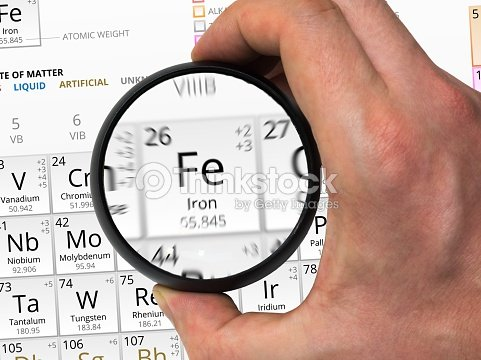 Iron symbol element of the periodic table zoomed with magn stock iron symbol element of the periodic table zoomed with magn stock photo urtaz Images