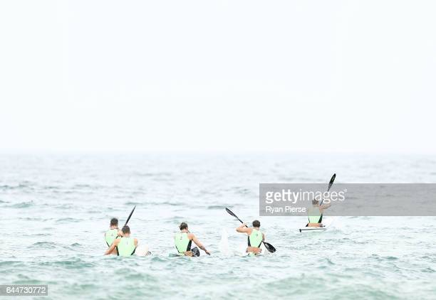 Ironmen compete in the Ski Leg on the Ski during the Round One Enduro during the Nutri Grain IronMan and IronWoman Finals at Cronulla Beach on...