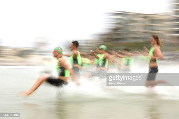 Ironmen start the swim leg during the Round One Enduro during the Nutri Grain IronMan and IronWoman Finals at Cronulla Beach on February 24 2017 in...