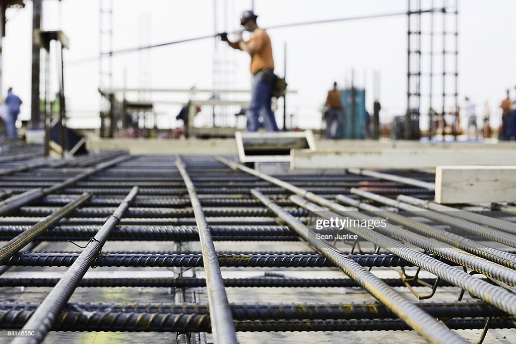 Ironworker prepping rebar for poued concrete floor