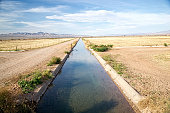 Water diverted from the Colorado Rover  flows through a concrete agricultural irrigation ditch in the California desert.