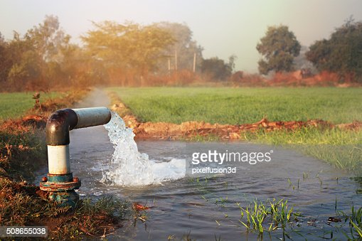 Irrigation With Tube Well (Irrigation Equipment) : Stock Photo