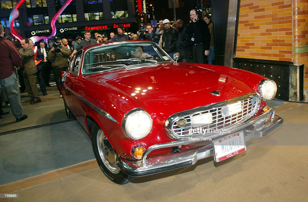 Irv Gordon drives his 1966 Volvo P1800 at the Volvo 75th Anniversary event March 27 2002 in New York City Gordon was honored for driving the car two...