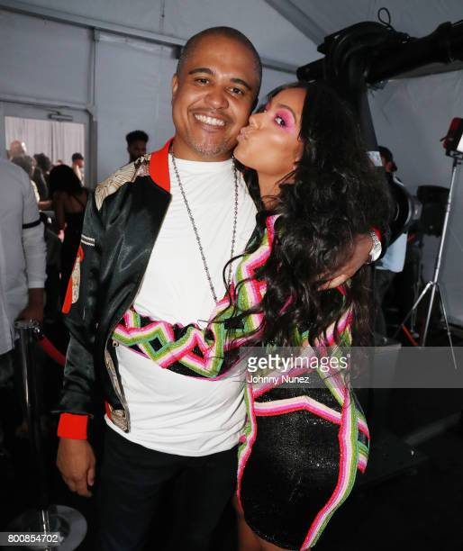 Irv Gotti and Erica Mena at the InstaBooth at the 2017 BET Awards at Microsoft Square on June 25 2017 in Los Angeles California