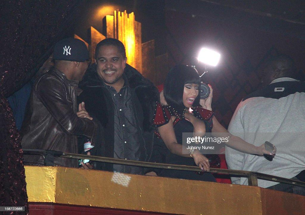 Irv Gotti (L) and Nicki Minaj (R) attend Nicki Minaj's Christmas Extravaganza at Webster Hall on December 25, 2012 in New York City.