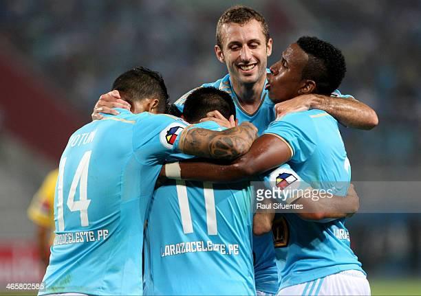 Irven Avila of Sporting Cristal celebrates a scored goal against Atletico PR as part of the Copa Bridgestone Libertadores 2014 at Nacional Stadium on...