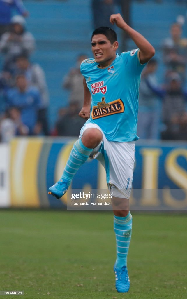 Irven Avila of Sporting Cristal celebrates after scoring his team's fourth goal during a match between Sporting Cristal and Leon de Huanuco as part of round 10 of Torneo Apertura 2014 at Alberto Gallardo Stadium on July 31, 2014 in Lima, Peru.