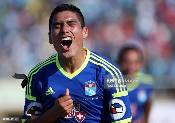 Irven Avila of Sporting Cristal celebrates after scoring his team's second goal during a final first leg match between Juan Aurich and Sporting...