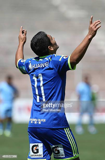 Irven Avila of Sporting Cristal celebrates after scoring the fourth goal of his team during a match between Real Garcilaso and Sporting Cristal as...