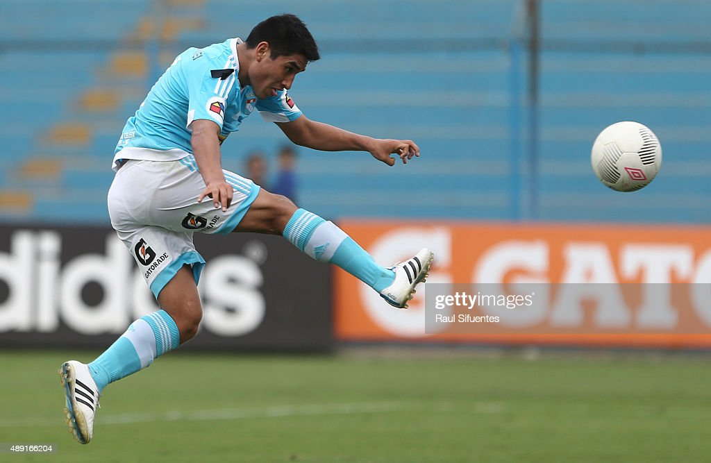 Irven Avila of Sporting Cristal takes a shot during a match between Sporting Cristal and Ayacucho FC as part of 5th round of Torneo Clausura 2015 at Alberto Gallardo Stadium on September 19, 2015 in Lima, Peru.
