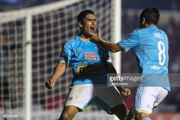 Irven Ávila of Sporting Cristal celebrates a scored goal during a match between Atletico Paranaense v Sporting Cristal as part of the Copa...