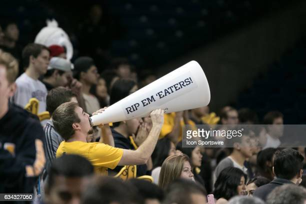 Irvine Cheerleader leads the crowd in a school chant during a game between UC Santa Barbara and UC Irvine on February 8 2017 at Bren Events Center in...