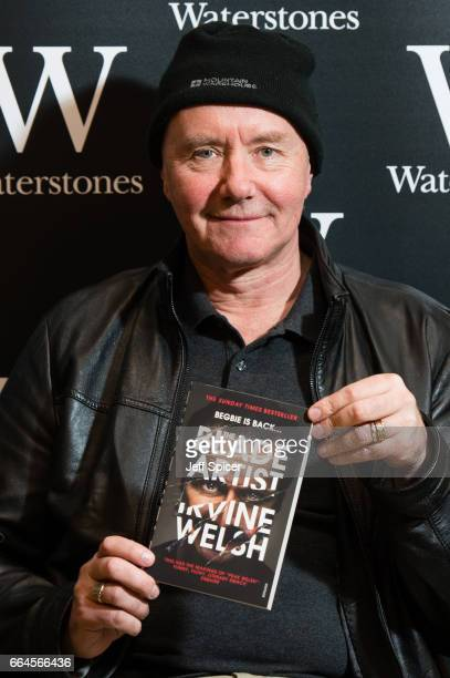 Irvine Welsh signs copies of 'The Blade Artist' at Waterstones on April 4 2017 in London United Kingdom