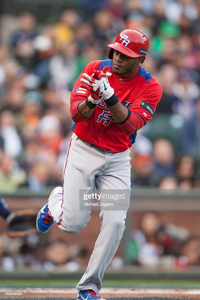 Irving Falu #19 of Team Puerto Rico reacts to ball four in the top of the first inning of the semi-final game against Team Japan in the championship round of the 2013 World Baseball Classic on Sunday, March 17, 2013 at AT&T Park in San Francisco, California.
