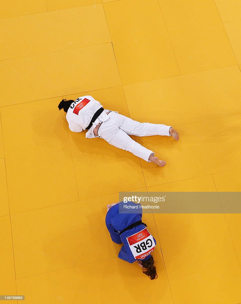 Iryna Kindzerska of Ukraine (white) and Karina Bryant of Great Britain compete in the Women's +78 kg Judo on Day 7 of the London 2012 Olympic Games at ExCeL on August 3, 2012 in London, England.