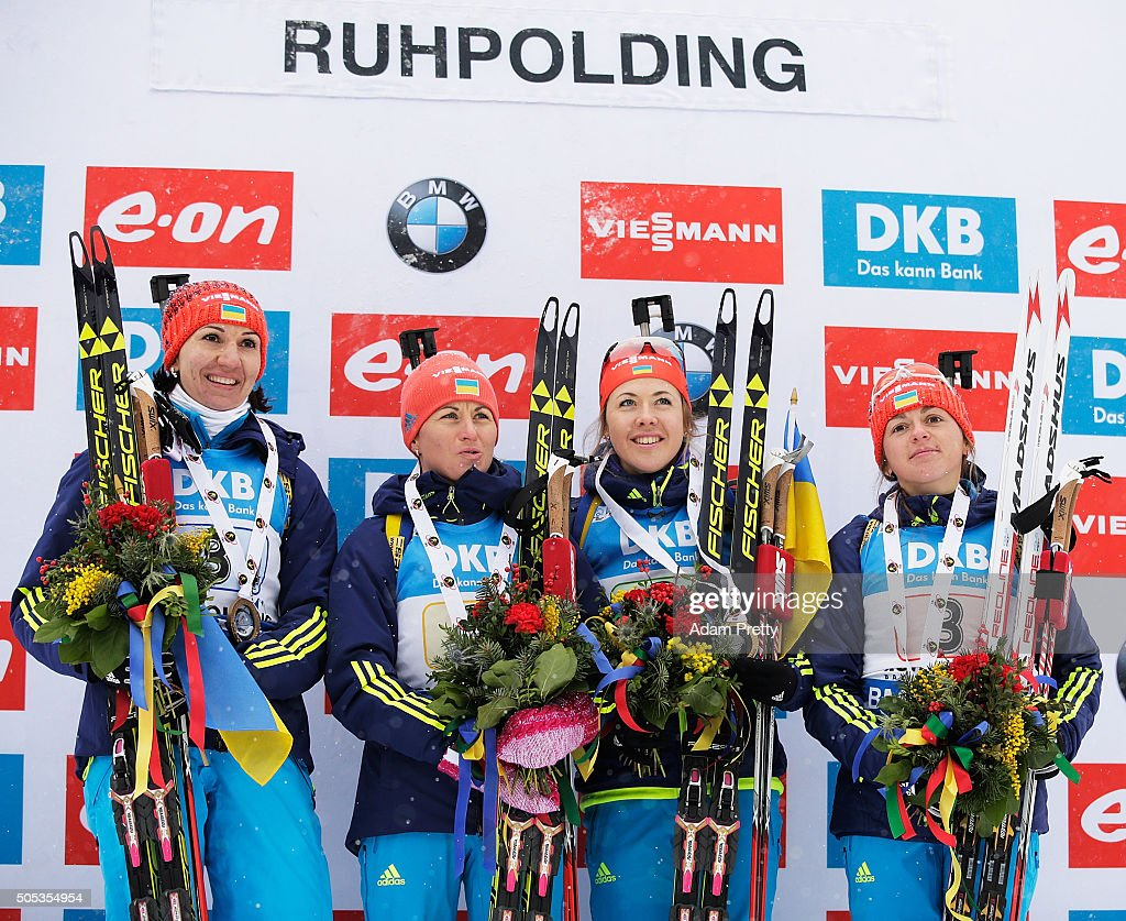 Iryna Varvynets, Yulia Dzhima, Valj Semerenko and Olena Pidhrushna of the Ukraine celebrate first place on the podium after the Women's 4x 6km relay on Day 5 of the IBU Biathlon WOrld Cup Ruhpolding on January 17, 2016 in Ruhpolding, Germany.