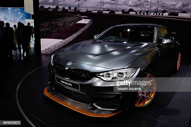GTS is displayed at the BMW booth during the media preview ahed of The 44th Tokyo Motor Show 2015 at Tokyo Big Sight on October 28 2015 in Tokyo...