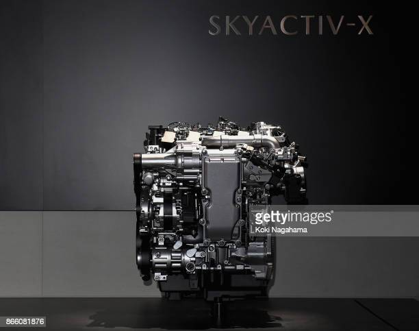 'SKYACTIVX' is displayed at the Mazda Motor Co booth during the Tokyo Motor Show at Tokyo Big Sight on October 25 2017 in Tokyo Japan