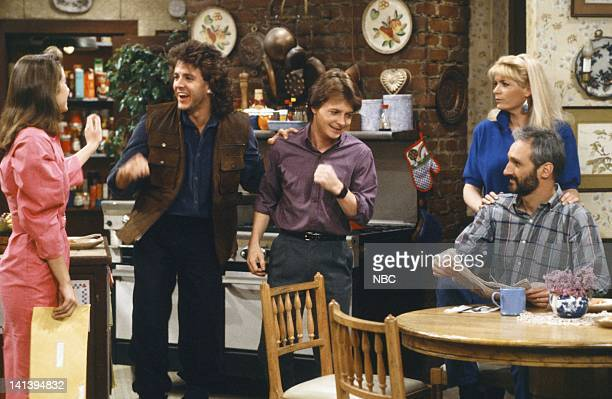 TIES ''D' is for Date' Episode 25 Pictured Justine Bateman as Mallory Keaton Scott Valentine as Nick Moore Michael J Fox as Alex P Keaton Meredith...