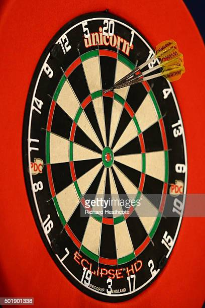 A 180 is scored on day two of the 2016 William Hill PDC World Darts Championships at Alexandra Palace on December 18 2015 in London England