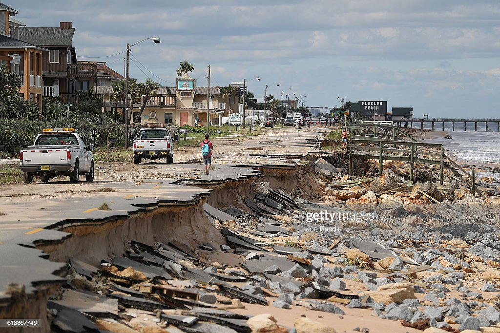 A1A is seen after ocean waters stirred up by Hurricane Matthew washed away part of the ocean front road on October 8 2016 in Flagler Beach Florida...