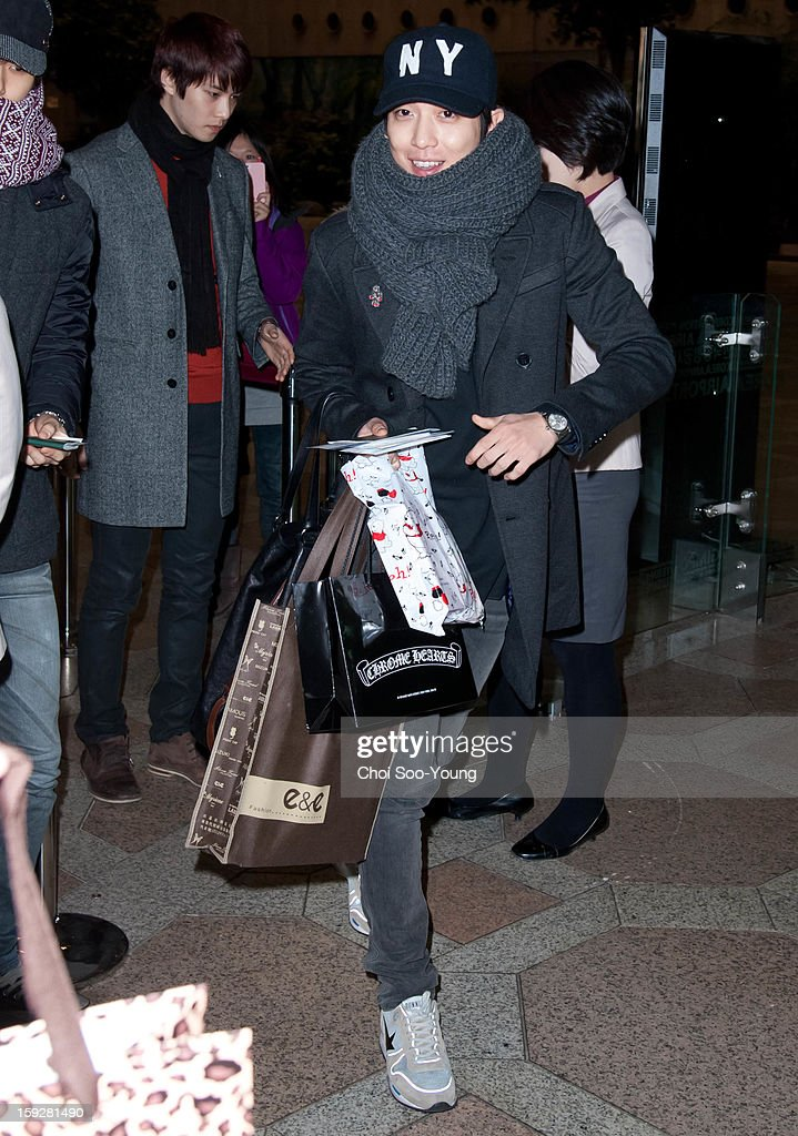 CNBLUE is seen at Gimpo International Airport on December 20, 2012 in Seoul, South Korea.