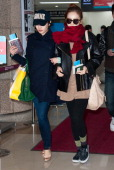 KARA is seen at Gimpo International Airport on January 24 2013 in Seoul South Korea