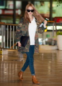 KARA is seen at Gimpo International Airport on October 7 2013 in Seoul South Korea