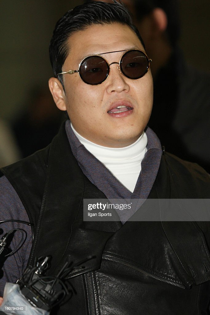 PSY is seen at Incheon International Airport on February 5, 2013 in Incheon, South Korea.