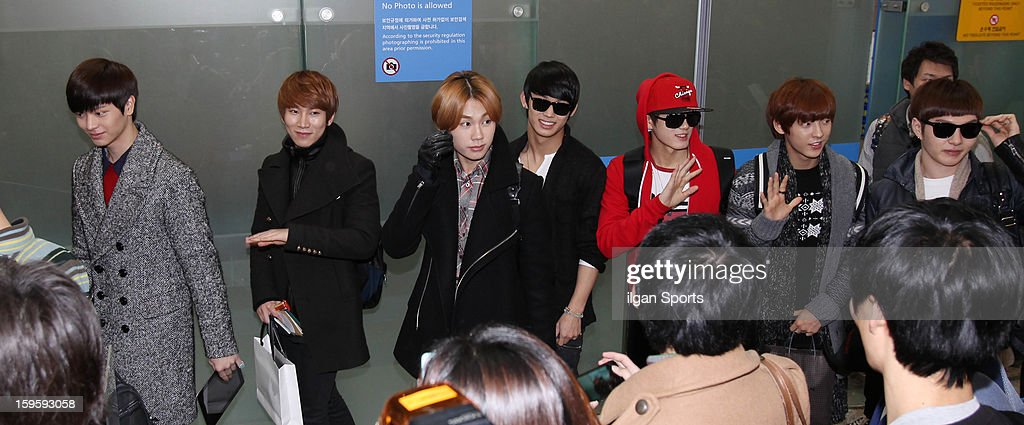 BTOB is seen at Incheon International Airport on January 13, 2013 in Incheon, South Korea.