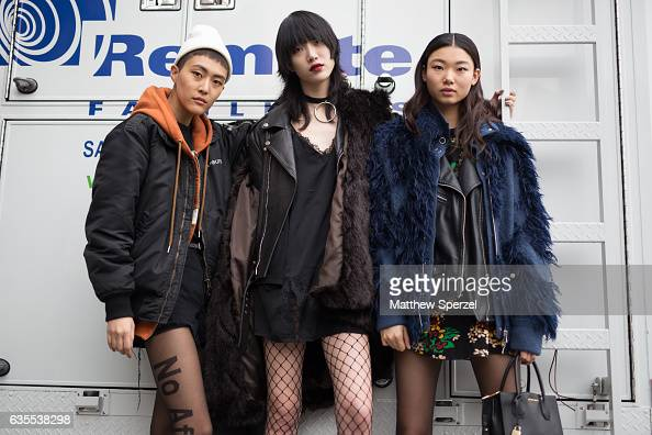 CHOI is seen attending Michael Kors during New York Fashion Week wearing an allblack outfit with leather coat and fishnet stockings on February 15...