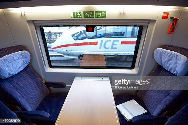 ICE is seen out of the window of the latest generation of the ICE 3 Deutsche Bahn highspeed train version 407 during a media day from Frankfurt to...