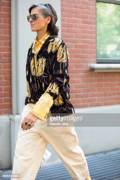 is seen outside the Fendi show during Milan Men's Fashion Week Spring/Summer 2018 on June 19 2017 in Milan Italy