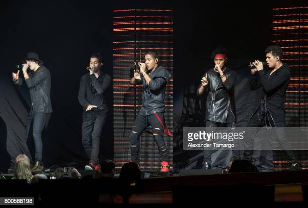 CNCO is seen performing on stage at the AmericanAirlines Arena on June 23 2017 in Miami Florida