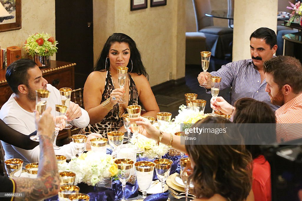 SUNSET -- 'Is This 40?' Episode 314 -- Pictured: (l-r) Mike Shouhed, Asa Soltan Rahmati, Golnesa 'GG' Gharachedaghi, Mercedes 'MJ' Javid, Adam Neely, <a gi-track='captionPersonalityLinkClicked' href=/galleries/search?phrase=Reza+Farahan&family=editorial&specificpeople=9012581 ng-click='$event.stopPropagation()'>Reza Farahan</a> --