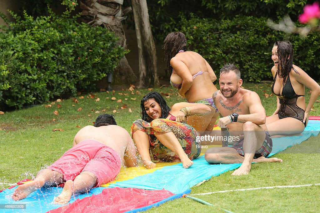 SUNSET -- 'Is This 40?' Episode 314 -- Pictured: (l-r) <a gi-track='captionPersonalityLinkClicked' href=/galleries/search?phrase=Reza+Farahan&family=editorial&specificpeople=9012581 ng-click='$event.stopPropagation()'>Reza Farahan</a>, Asa Soltan Rahmati, Mercedes 'MJ' Javid, Adam Neely, unknown --