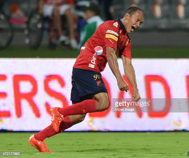 Isaac Arias player of Deportes Tolima celebrates a goal scored to Atletico Junior during a match between Atletico Junior and Deportes Tolima as part...