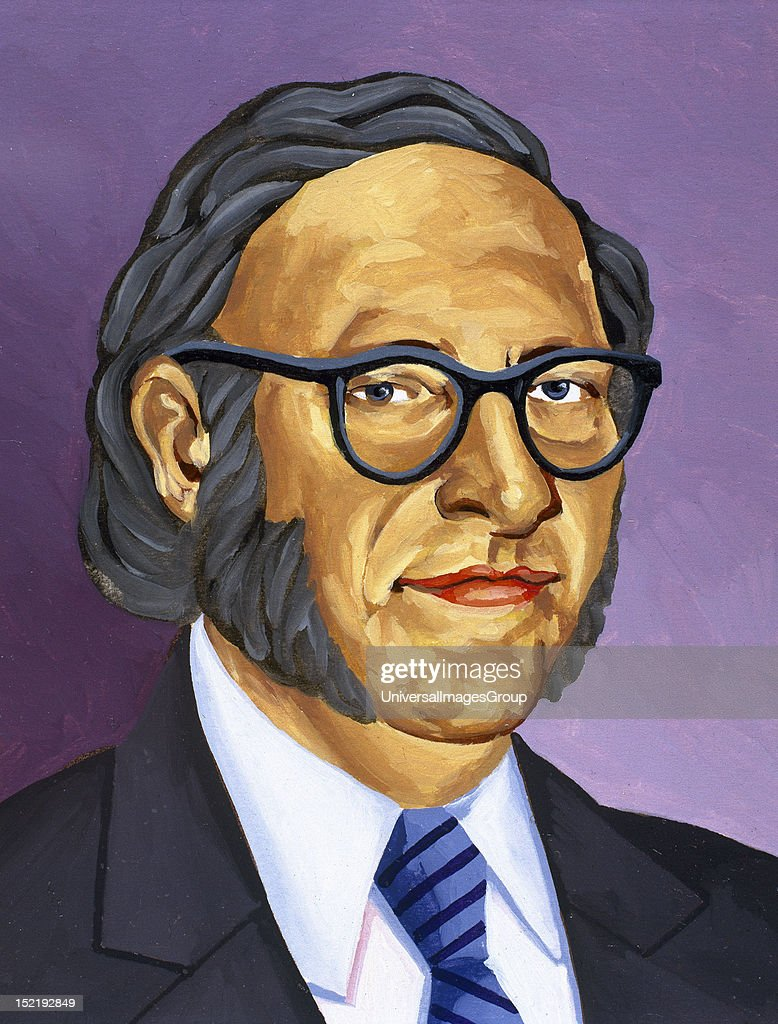Isaac Asimov American writer of Russian origin Colored drawing