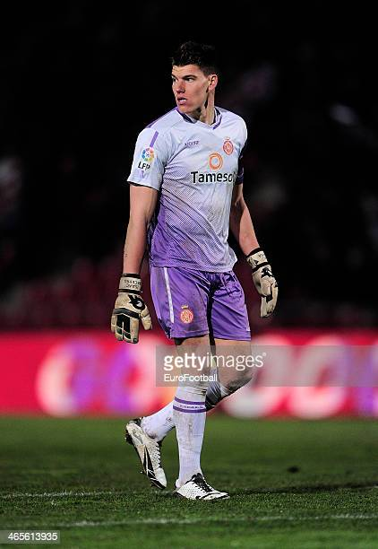 Isaac Becerra of Girona FC in action during the Spanish Segunda Division match between Girona FC and SD Eibar at the Estadia Montilivi on January 25...