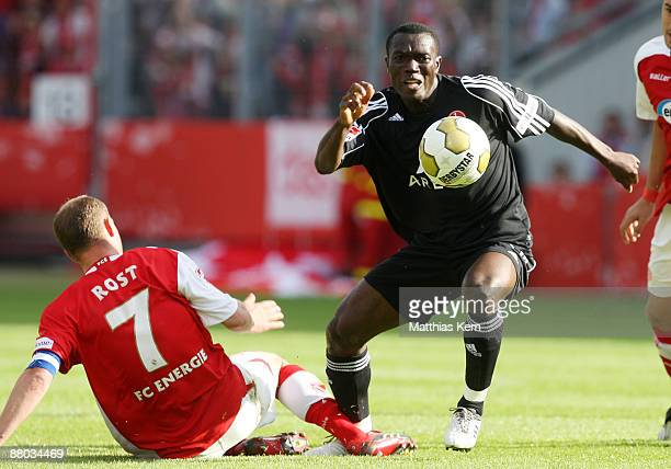 Isaac Boakye of Nuernberg in action during the Bundesliga Play Off match between FC Energie Cottbus and 1FC Nuernberg at the Stadion der Freundschaft...