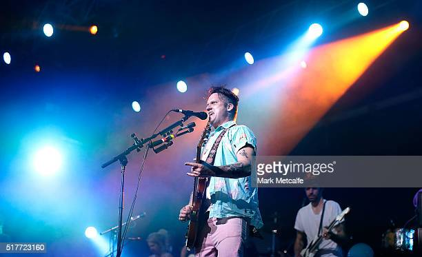 Isaac Brock of Modest Mouse performs live for fans at the 2016 Byron Bay Bluesfest on March 27 2016 in Byron Bay Australia