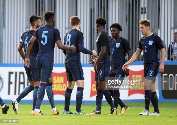 Isaac Buckley Ricketts of England U20 celebrates with his teamates his goal during the 8 Nations Tournament match between Italy U20 and England U20...