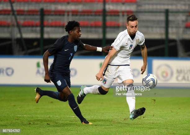 Isaac Buckley Ricketts of England U20 competes for the ball with Gaetano Castrovilli of Italy U20 during the 8 Nations Tournament match between Italy...