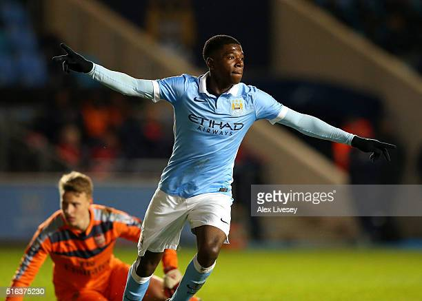 Isaac BuckleyRicketts of Manchester City celebrates after scoring their second goal during the FA Youth Cup Semi Final First Leg match between...