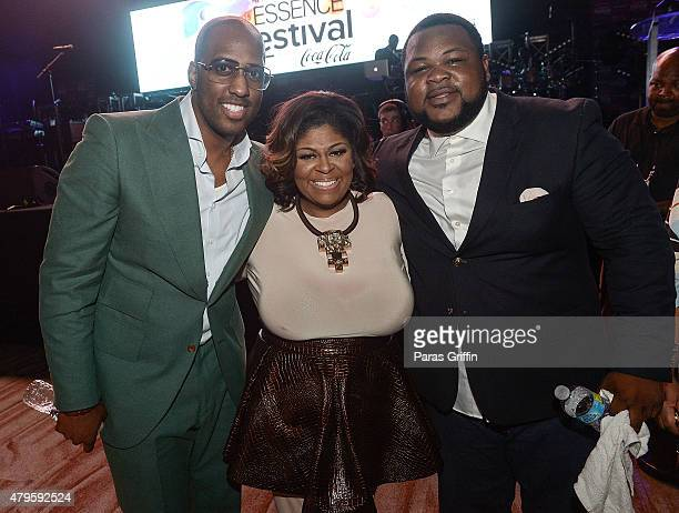 Isaac Caree Kim Burrell and Zacardi Cortez attend the ESSENCE AllStar Gospel Tribute to Kim Burrell at the 2015 Essence Music Festival on July 5 2015...