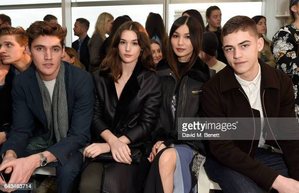 Isaac Carew Sai Bennett Gemma Chan and Hero Finnes attend the Jigsaw London Fashion Week show on February 21 2017 in London England