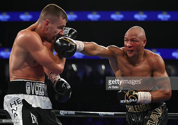Isaac Chilemba of Malawi delivers a right to the head of Oleksandr Gvozdyk of Ukraine during their light heavyweight bout at TMobile Arena on...