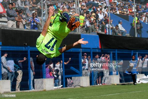 Isaac Díaz of Universidad de Chile jumps to celebrate a scored goal during a match between Universidad de Chile and Independiente JT as part of the...